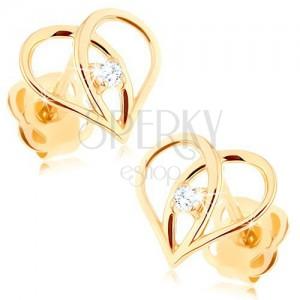 Diamantni uhani iz 14-k zlata – obris srca z briljantom