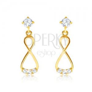 Briljantni uhani iz 14-k zlata – viseča osmica, prozorni diamanti