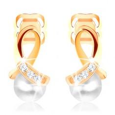 Uhani iz 14-k zlata – sijoča zanka z diamanti, okrogel biser