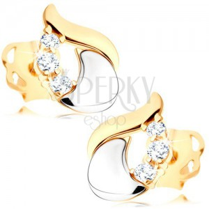 Diamantni uhani - sijoča solza iz 14-k belega in rumenega zlata, trije prozorni briljanti
