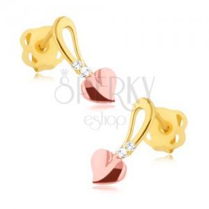 Briljantni uhani - iz 14-k rumenega in rožnatega zlata srce na peclju, diamanti