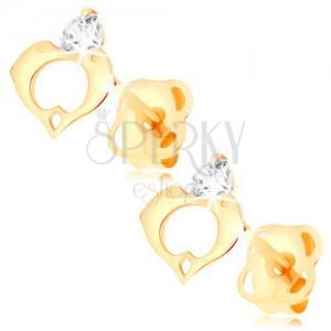 Uhani iz 14-k rumenega zlata - prozoren diamant, obris srca iz dveh delfinov