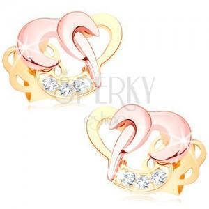 Briljantni uhani iz 14-k zlata - prepletena obrisa srca, prozorni diamanti