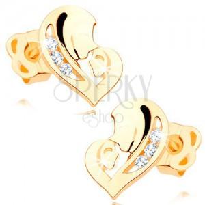 Diamantni uhani iz 14-k rumenega zlata - srce iz dveh obrazov, prozorni briljanti