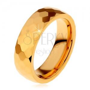Volframov prstan zlate barve, izrezani sijoči šesterokotniki, 8 mm