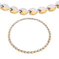 Jeklena ogrlica z magneti, zaobljeni členi srebrne in zlate barve
