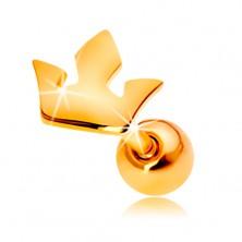 Piercing za uho iz 14-k rumenega zlata - kronica s tremi konicami