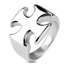 Masiven prstan iz kirurškega jekla, gladek sijoč malteški križ