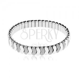 Jeklena zapestnica srebrne barve, raztegljiva, sijoči in matirani členi