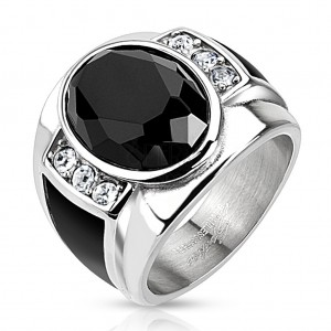 Jekleni prstan z brušenim črnim ovalom, prozorni cirkoni in črni pasovi