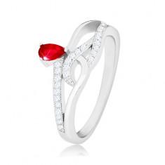 Prstan iz srebra 925, rdeč cirkon v obliki solze, valovite cirkonske linije