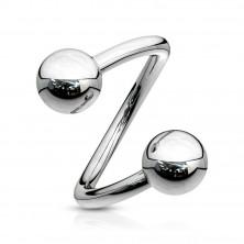 Jeklen piercing za obrvi – spirala srebrne barve in kroglica, 1,6 mm