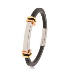 Zapestnica iz črne gume, gladka jeklena ploščica, kvadrati zlate in bakrene barve