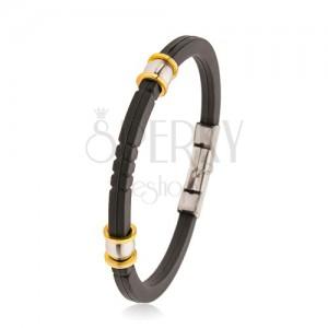 Črna gumijasta zapestnica z zarezami, jekleni biserčki srebrne in zlate barve