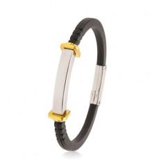 Zapestnica iz črne gume, gladka jeklena ploščica, kvadrati in krogi zlate barve