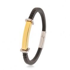 Črna zapestnica iz gume, jeklena ploščica zlate barve, kvadrati in krogi ob straneh