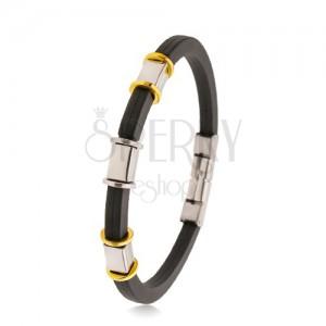 Črna gumijasta zapestnica z zarezami, jekleni okrasi srebrne in zlate barve
