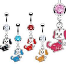 Jeklen piercing za popek - motiv majhnega sedečega psa, bleščeči cirkon