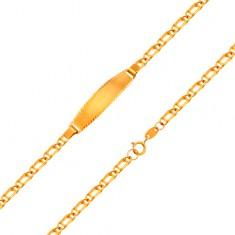 Zapestnica iz 18-k rumenega zlata - verižica iz dvojnih členov, 160 mm