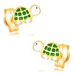 Uhani iz 14-k rumenega zlata - zeleno-bela želvica s črnim očesom