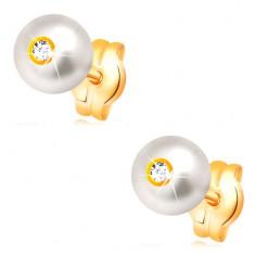 14-k zlati uhani - okrogel bel biser z vdelanim prozornim cirkonom, 5 mm