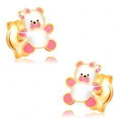 14-k zlati uhani, medvedek z rožnato in belo glazuro, čepki