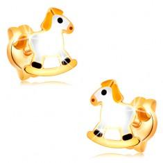 Vtični uhani iz 14-k rumenega zlata - bel gugalni konjiček z rumeno grivo