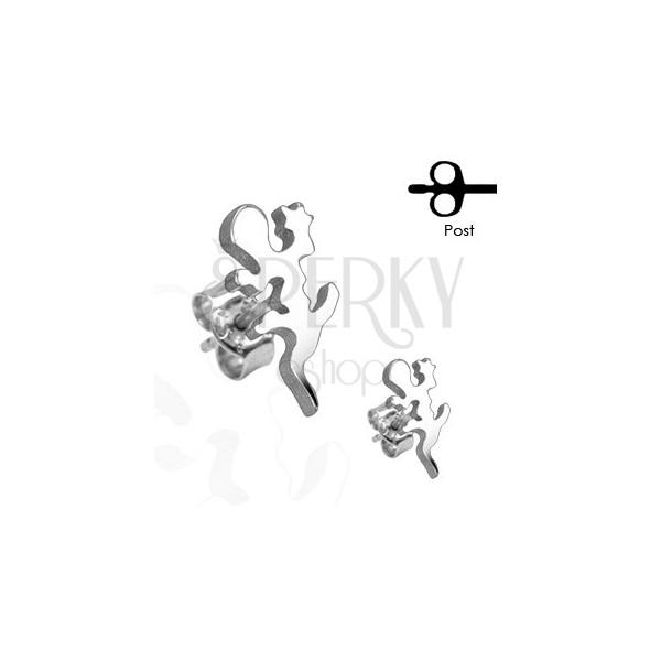 Uhani iz nerjavečega jekla - kuščar srebrne barve, čepki
