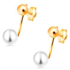 Uhani iz 14-k rumenega zlata - sijoča kroglica in bel biser na palčki