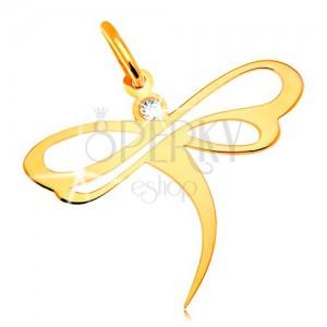 Obesek iz 14-k rumenega zlata - kačji pastir z vdelanim cirkonom in izrezi na krilih