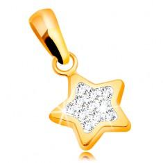 Obesek iz 14-k rumenega zlata - sijoča peterokraka zvezda, prozorni cirkoni
