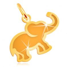 Obesek iz 14-k rumenega zlata - ploščat slonček z mat sredino
