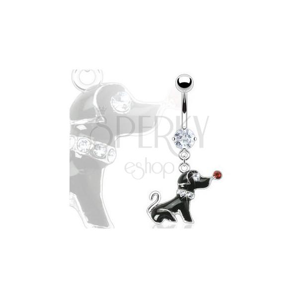 Uhan za popek - črn pes s kamenčki