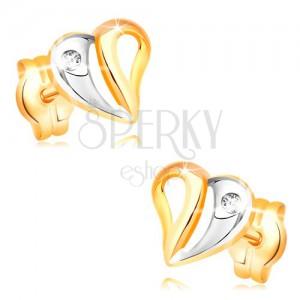 Briljantni uhani  iz 14-k rumenega zlata - srce z izrezi in diamantom