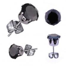 Uhani iz jekla 316 L, srebrne barve, okrogel črn cirkon, 3 mm