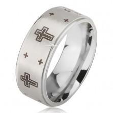 Prstan iz jekla 316 L z mat sredino in odtisom križa, srebrne barve, 6 mm