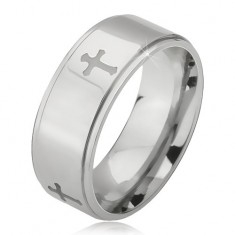 Jekleni prstan srebrne barve, vgravirani križi in znižan robovi, 6 mm