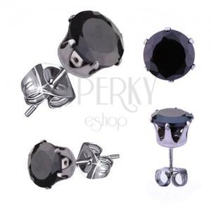 Jekleni uhani srebrne barve, okrogel črn cirkon, 5 mm