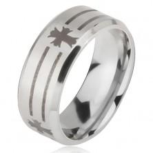Prstan iz jekla 316 L srebrne barve, odtis črt in križev, 6 mm