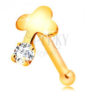 Raven piercing za nos 14-k rumenega zlata, prozoren cirkon in sijoč križ