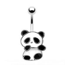 Jeklen uhan za popek - panda z belo in črno glazuro