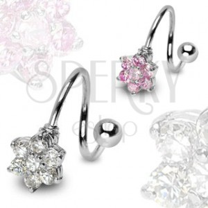 Zavit piercing iz nerjavečega jekla s cvetom