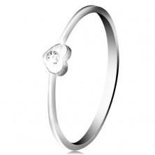 Diamantni prstan iz 14-k belega zlata - srce s prozornim briljantom