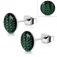 Jekleni uhani, akrilni krog s temno zelenim vzorcem, glazura