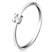 Prstan iz 14-k belega zlata - prozoren diamant v kvadratasti objemki