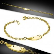 Zapestnica iz kirurškega jekla zlate barve, sijoča verižica, pero