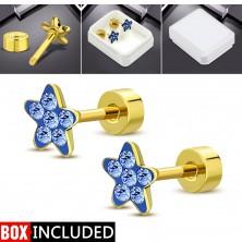Jekleni uhani zlate barve, lesketav cvet iz modrih cirkonov