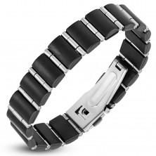 Jekleno-gumijasta zapestnica, črni pravokotniki in ozki srebrni valji