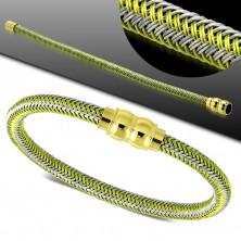 Zeleno-siva zapestnica, pleten vzorec, zlata magnetna zaponka