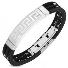 Črna gumijasta zapestnica z izrezi in kvadrati, ploščica z grškim ključem